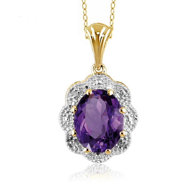 JewelersClub 1.60 Carat T.G.W. Amethyst and White Diamond Accent Sterling Silver Pendant - Assorted Colors