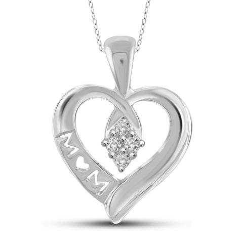 JewelonFire 1/10 Carat T.W. White Diamond Sterling Silver Mother Heart Pendant - Assorted Colors