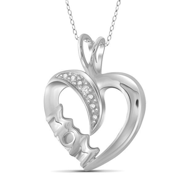 JewelonFire White Diamond Accent Sterling Silver Mother Heart Pendant - Assorted Colors