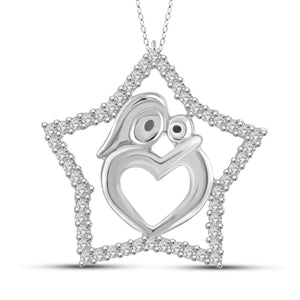 JewelonFire 1/4 Carat T.W. White Diamond Sterling Silver Mother and Child Star Pendant - Assorted Colors