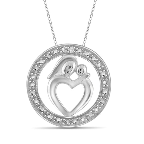 JewelonFire White Diamond Accent Sterling Silver Mother and Child Heart with Circle Pendant - Assorted Colors