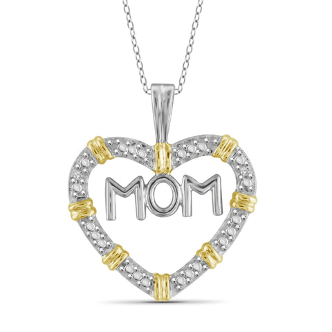 JewelonFire White Diamond Accent Sterling Silver Mother Heart Two-Tone Pendant