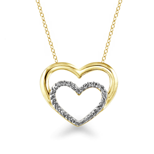 JewelersClub White Diamond Accent 14K Gold Over Silver Heart Pendant