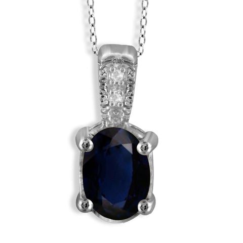 JewelonFire 1.00 Carat T.G.W. Sapphire and White Diamond Accent Sterling Silver Pendant - Assorted Colors