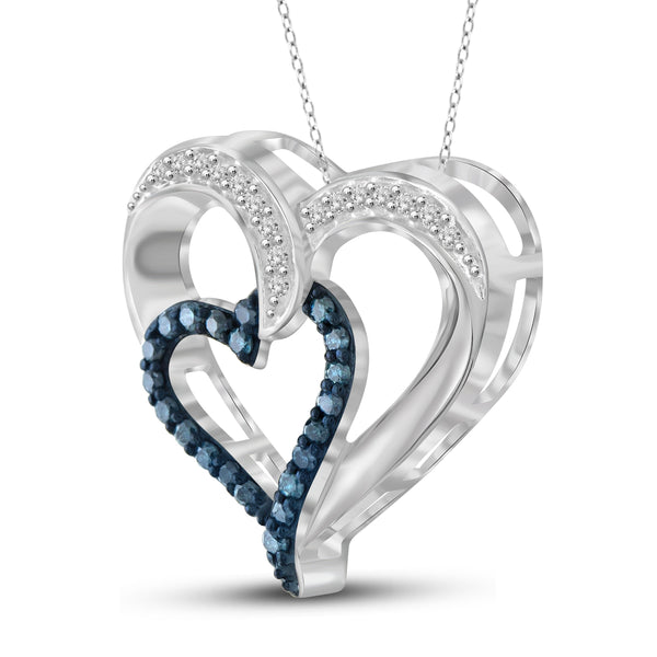 JewelonFire 1/4 Carat T.W. Blue and White Diamond Sterling Silver Heart Pendant
