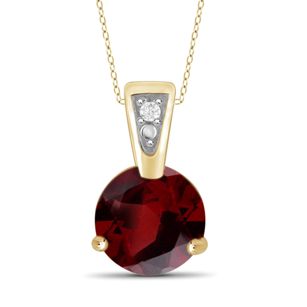 JewelonFire 3/4 Carat T.G.W. Garnet And White Diamond Accent Sterling Silver Pendant - Assorted Colors