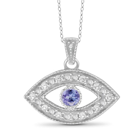 JewelonFire Tanzanite Accent and White Diamond Accent Sterling Silver Evil Eye Pendant - Assorted Colors