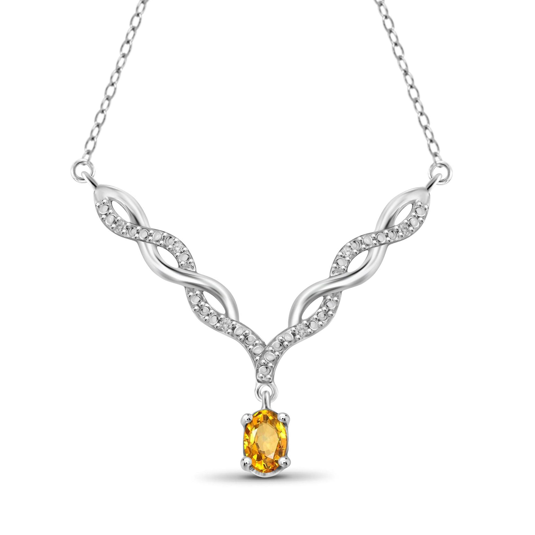 JewelonFire 1/2 Carat T.G.W. Citrine And 1/20 Carat T.W. White Diamond Sterling Silver Pendant - Assorted Colors