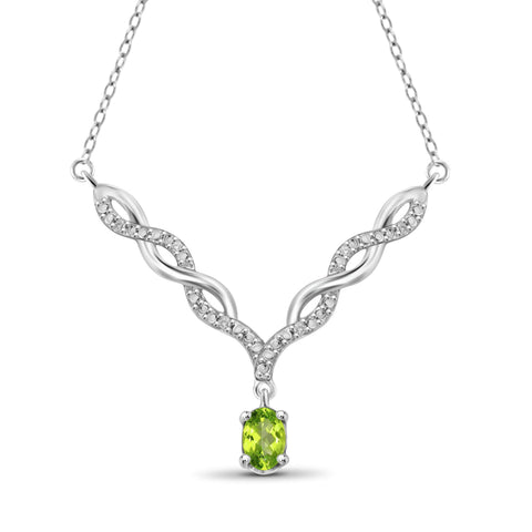 JewelonFire 1/2 Carat T.G.W. Peridot And 1/20 Carat T.W. White Diamond Sterling Silver Pendant - Assorted Colors