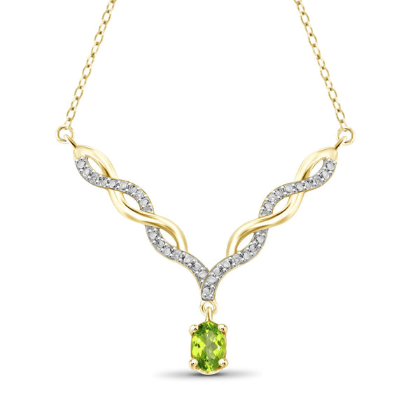 JewelersClub 1/2 Carat T.G.W. Peridot And 1/20 Carat T.W. White Diamond Sterling Silver Pendant - Assorted Colors