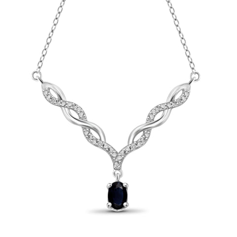 JewelonFire 0.60 Carat T.G.W. Sapphire and 1/20 ctw White Diamond Sterling Silver Pendant - Assorted Colors