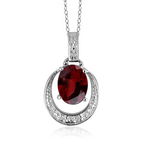 JewelonFire 1 1/2 Carat T.G.W. Garnet And 1/20 Carat T.W. White Diamond Sterling Silver Pendant - Assorted Colors