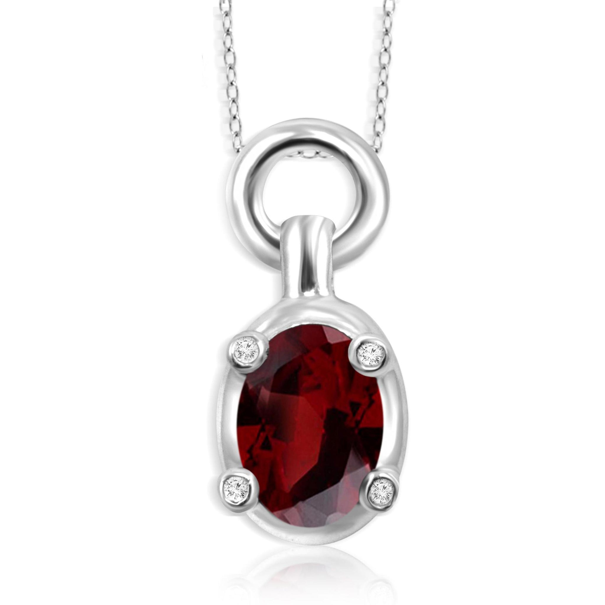JewelonFire 1.00 Carat T.G.W. Garnet And White Diamond Accent Sterling Silver Pendant - Assorted Colors