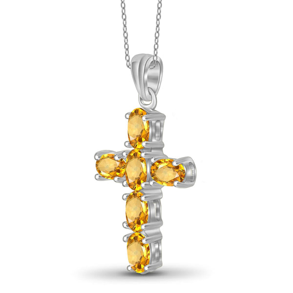 JewelersClub 1 1/3 Carat T.G.W. Citrine Sterling Silver Cross Pendant - Assorted Colors