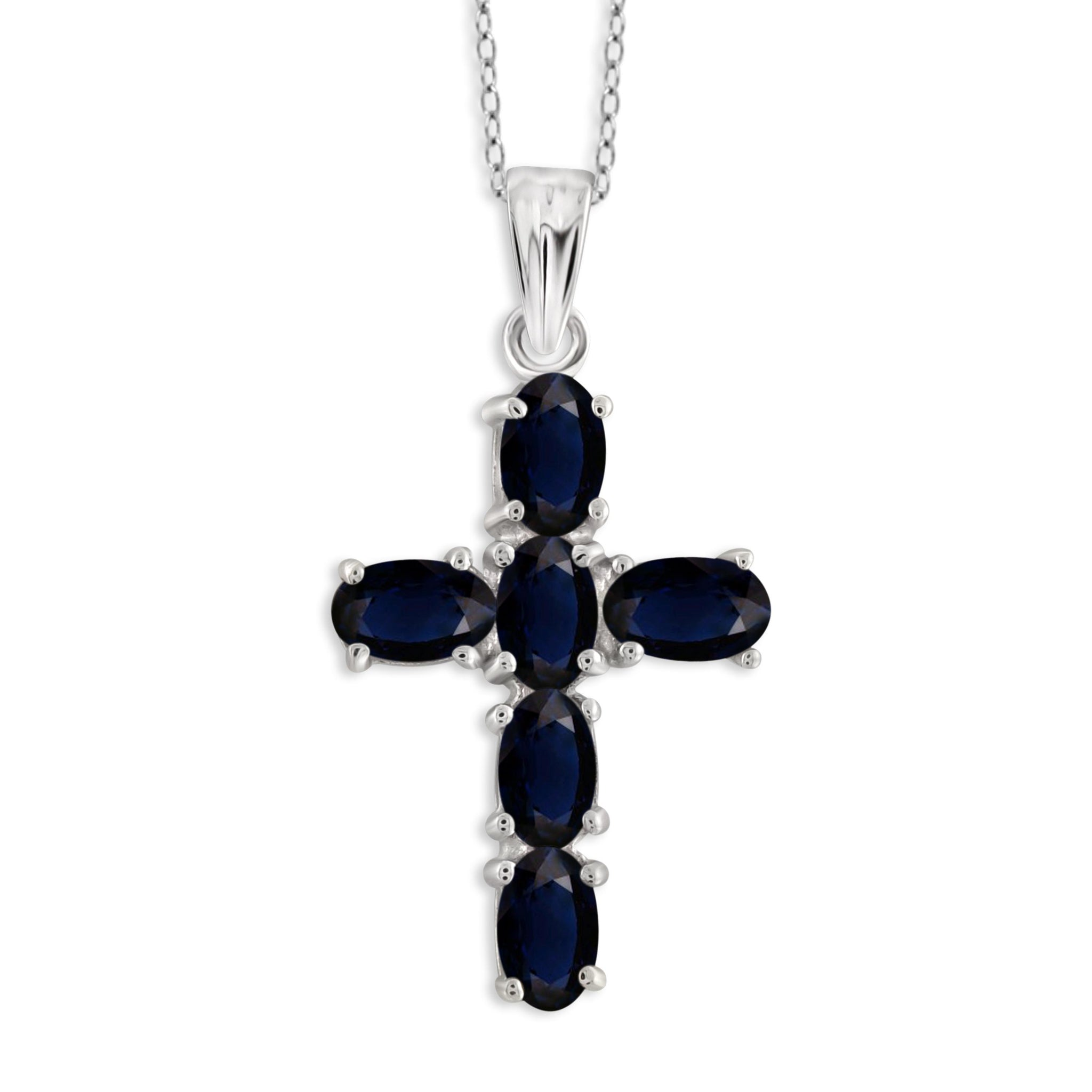 JewelonFire 1.90 Carat T.G.W. Sapphire Sterling Silver Cross Pendant - Assorted Colors