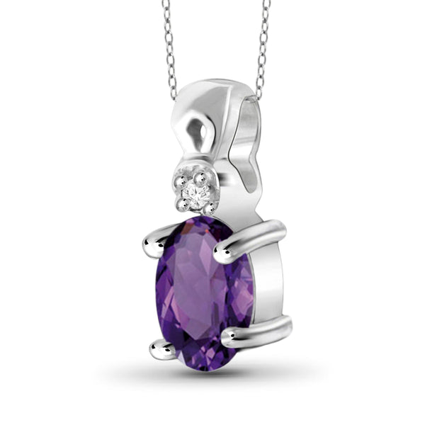 JewelersClub 1/2 Carat T.G.W. Amethyst and White Diamond Accent Sterling Silver Pendant - Assorted Colors