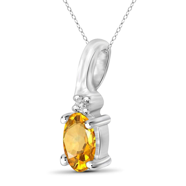 JewelonFire 1/4 Carat T.G.W. Citrine and White Diamond Accent Sterling Silver Pendant - Assorted Colors