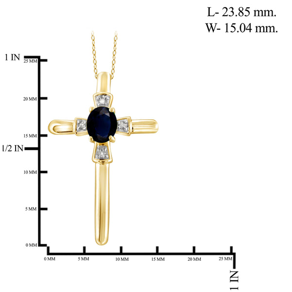 JewelonFire 0.30 Carat T.G.W. Sapphire and White Diamond Accent Sterling Silver Cross Pendant - Assorted Colors