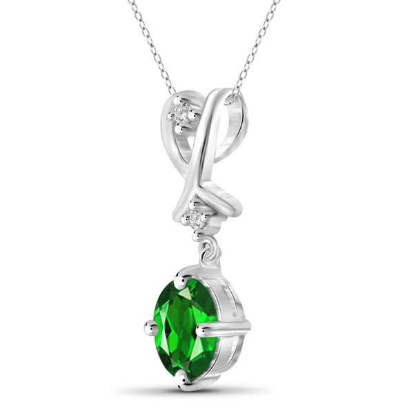 JewelonFire 0.80 Carat T.G.W. Chrome Diopside and White Diamond Accent Sterling Silver Pendant - Assorted Colors