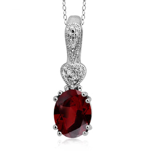 JewelonFire 2.15 Carat T.G.W. Garnet and White Diamond Accent Sterling Silver Pendant - Assorted Colors