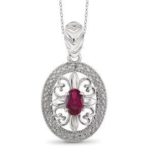JewelersClub 0.45 Carat T.G.W. Ruby and White Diamond Accent Sterling Silver Pendant - Assorted Colors