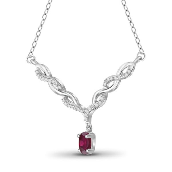 JewelersClub 0.45 Carat T.G.W. Ruby and 1/20 ctw White Diamond Sterling Silver Pendant - Assorted Colors