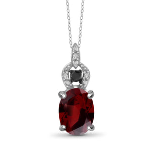 JewelonFire 1 1/2 Carat T.G.W. Garnet And 1/20 Carat T.W. Black & White Diamond Sterling Silver Pendant - Assorted Colors