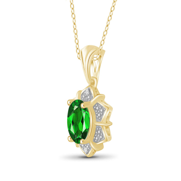 JewelonFire 1.20 Carat T.G.W. Chrome Diopside and White Diamond Accent Sterling Silver Pendant - Assorted Colors