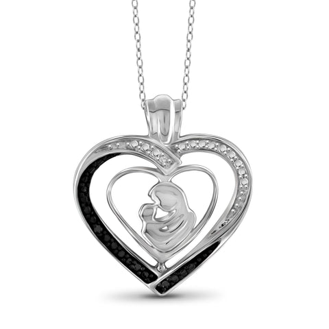 JewelonFire Black and White Diamond Accent Sterling Silver Mother and Child Heart Pendant - Assorted Colors