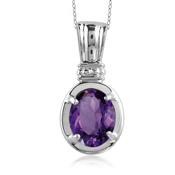 JewelonFire 1.60 Carat T.G.W. Amethyst Sterling Silver Pendant - Assorted Colors