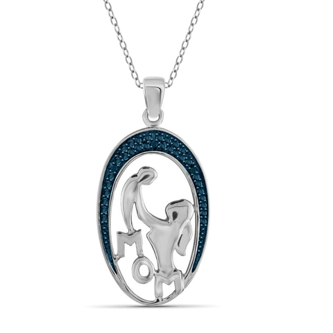 JewelonFire Blue Diamond Accent Sterling Silver Mother and Child Pendant