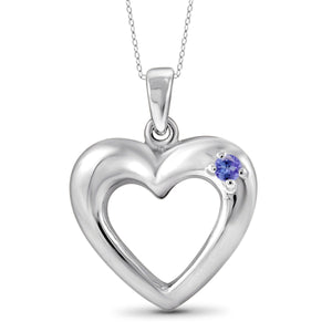 JewelonFire Tanzanite Accent Sterling Silver Heart Pendant - Assorted Colors