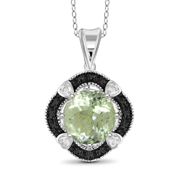JewelonFire 3 1/2 Carat T.G.W. Green Amethyst And Black & White Diamond Accent Sterling Silver Pendant - Assorted Colors