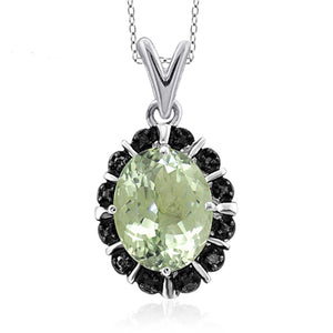 JewelonFire 1.85 Carat T.G.W. Green Amethyst and Black Diamond Accent Sterling Silver Pendant - Assorted Colors