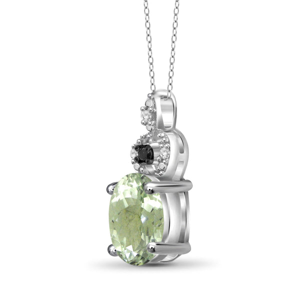 JewelonFire 1 1/3 Carat T.G.W. Green Amethyst And 1/20 Carat T.W. Black & White Diamond Sterling Silver Pendant - Assorted Colors