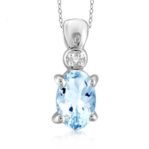 JewelonFire 1/2 Carat T.G.W. Sky Blue Topaz and White Diamond Accent Sterling Silver Pendant - Assorted Colors