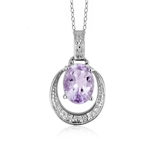 JewelersClub 1.00 Carat T.G.W. Pink Amethyst And 1/20 Carat T.W. White Diamond Sterling Silver Pendant - Assorted Colors