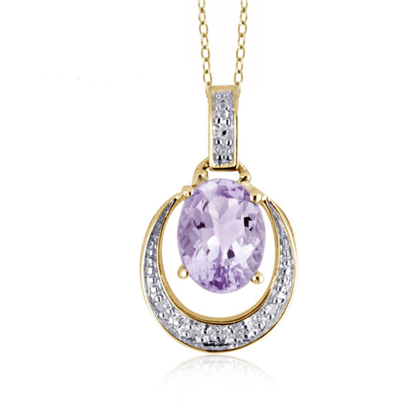 JewelonFire 1.00 Carat T.G.W. Pink Amethyst And 1/20 Carat T.W. White Diamond Sterling Silver Pendant - Assorted Colors