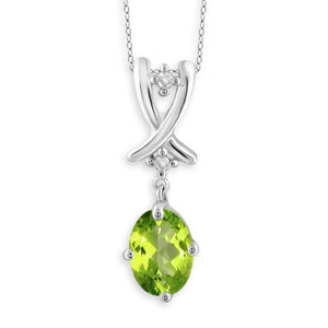 JewelonFire 3/4 Carat T.G.W. Peridot and Accent White Diamond Sterling Silver Pendant - Assorted Colors