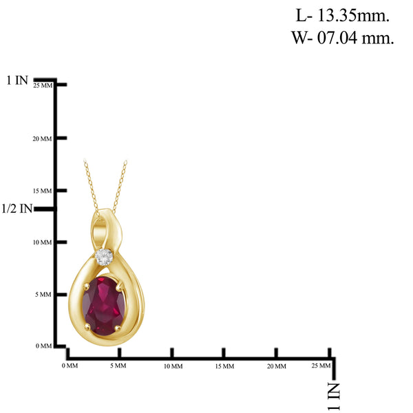 JewelonFire 0.45 Carat T.G.W. Ruby and White Diamond Accent Sterling Silver Pendant - Assorted Colors