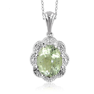 JewelonFire 1.85 Carat T.G.W. Green Amethyst and White Diamond Accent Sterling Silver Pendant - Assorted Colors