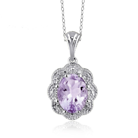 JewelersClub 1.60 Carat T.G.W. Pink Amethyst and White Diamond Accent Sterling Silver Pendant - Assorted Colors