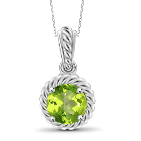 JewelonFire 3/4 Carat T.G.W. Peridot Sterling Silver Pendant - Assorted Colors