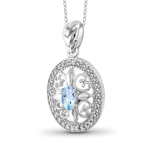 JewelersClub 1/2 Carat T.G.W. Sky Blue Topaz and White Diamond Accent Sterling Silver Pendant - Assorted Colors