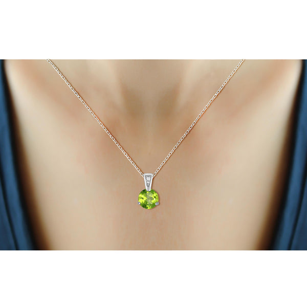 JewelonFire 3/4 Carat T.G.W. Peridot And White Diamond Accent Sterling Silver Pendant - Assorted Colors