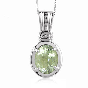 JewelonFire 1.85 Carat T.G.W. Green Amethyst Sterling Silver Pendant - Assorted Colors
