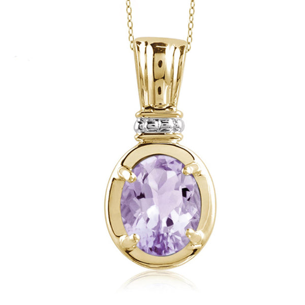 JewelonFire 1.60 Carat T.G.W. Pink Amethyst Sterling Silver Pendant - Assorted Colors