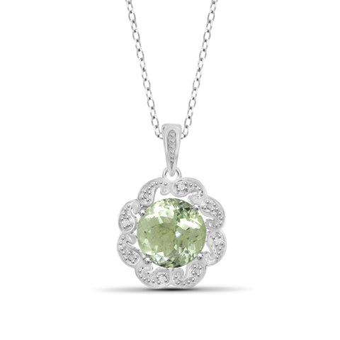JewelonFire 2 1/2 Carat T.G.W. Green Amethyst And White Diamond Accent Sterling Silver Pendant - Assorted Colors