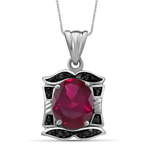 JewelonFire 2.50 Carat T.G.W. Ruby And Accent Black Diamond Sterling Silver Pendant - Assorted Colors