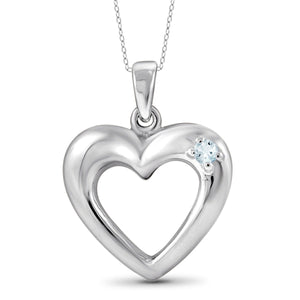 JewelersClub Aquamarine Accent Sterling Silver Heart Pendant - Assorted Colors